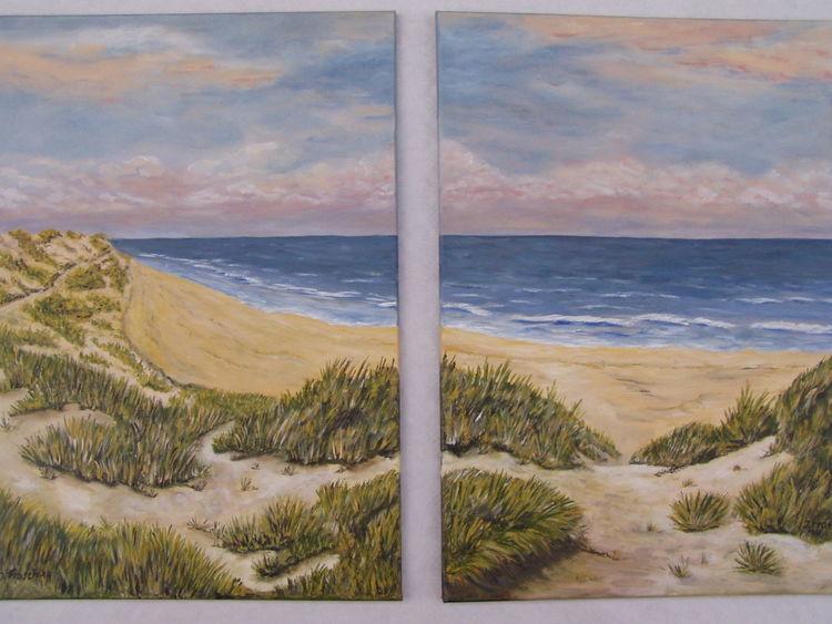 Wasser, Himmel, Landschaft, Dünen, Malerei