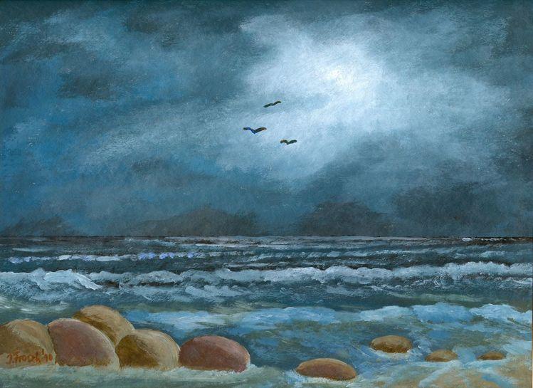 Brandung, Himmel, Wolken, Meer, Licht, Malerei