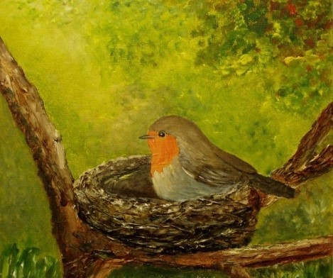Zweig, Vogel, Baum, Rotkehlchen, Grün, Nest