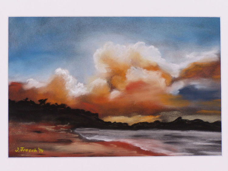 Abend, Stimmung, Wolken, Landschaft, Malerei