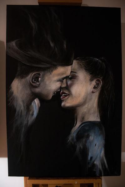 Speedpainting, Paar, Gemälde, Schwarz, Weiß, Ölmalerei