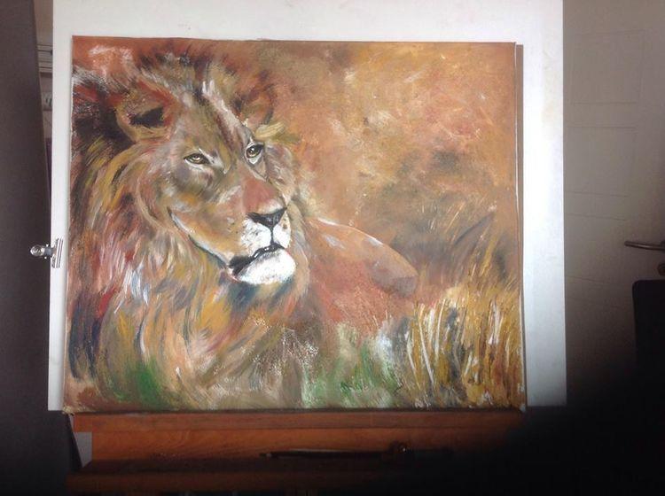 Wildtiere, Löwe, Afrika, Acrylmalerei, Gemälde, Malerei