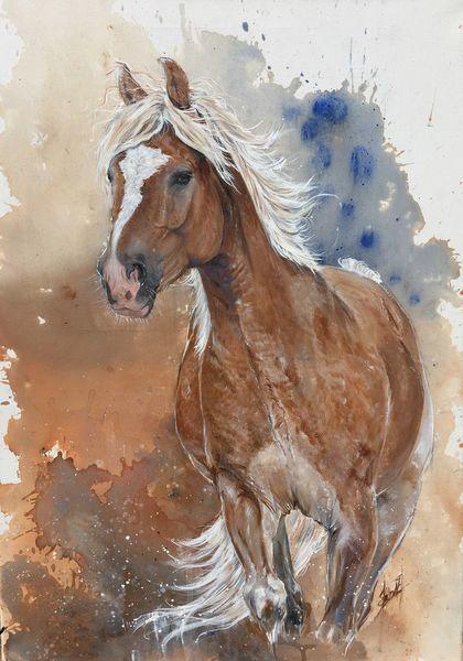 Haflinger, Pferde, Braun, Malerei