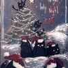 Weihnachten, Katze, Weihnachtsbaum, Zeichnungen