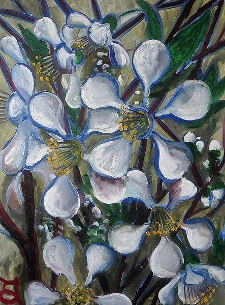 Blüte, Mirabellenblüten, Mirabelle, Malerei