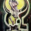 Schlüsselloch, Frau, Malerei, Weiß