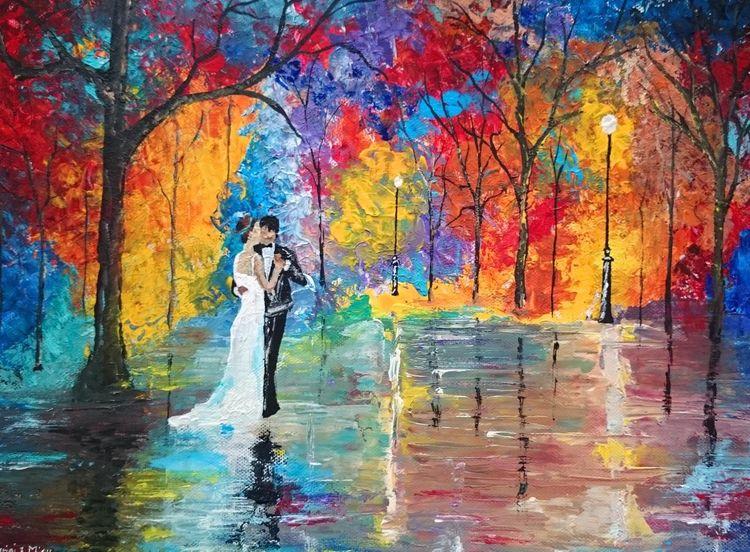 Paar, Hochzeit, Wald, Liebe, Nacht, Malerei