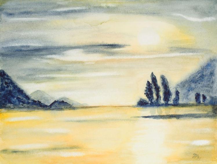 Baum, Himmel, Fluss, Aquarellmalerei, Berge, Aquarell