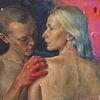 Malerei, Realismus, Mädchen, Frau