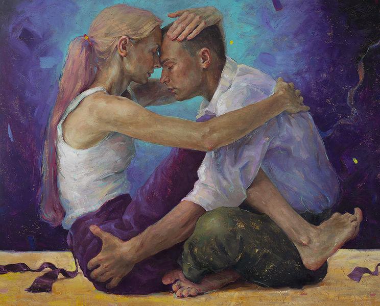Realismus, Portrait, Frau, Figural, Jung, Ölmalerei