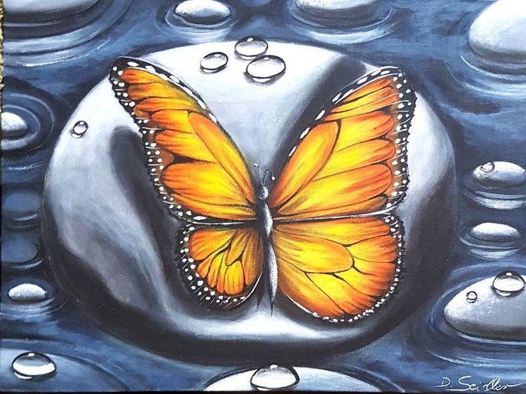 Stein, Tropfen, Schmetterling, Malerei