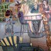 Menschen, Stadt, Häuser, Malerei