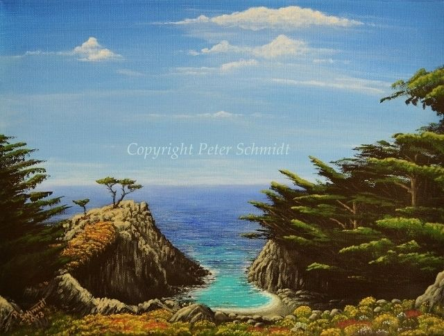 Landschaft, Ozean, Horizont, Grün, Rot, Malerei