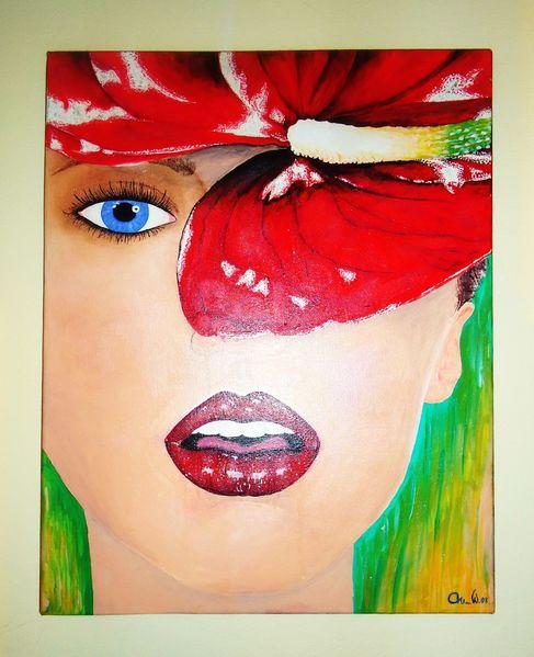 Acrylmalerei, Portrait, Frau, Malerei, Abstrakt