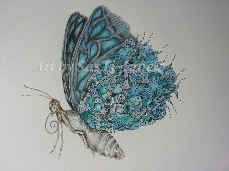 Mixed media, Blau, Flügel, Sehen, Schmetterling, Bieten