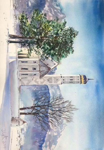 Bayer, Schnee, Landschaft, Winter, Kirche, Aquarell