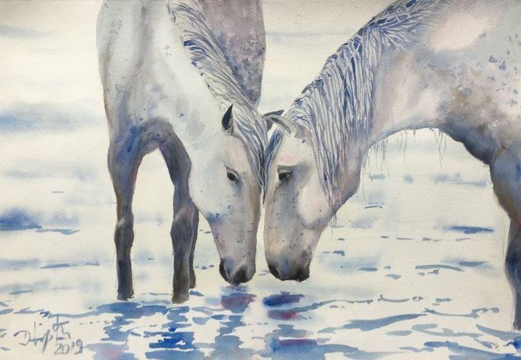 Pferde, Aquarellmalerei, Tiere, Aquarell, Harmonie