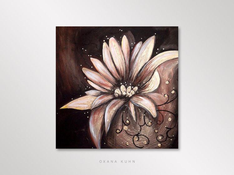 Struktur, Abstrakt, Blumen, Pinsel, Malerei, Gold