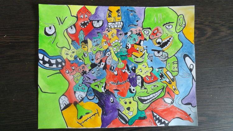 Grün, Zeichnung, Abstrakt, Rot schwarz, Blau, Malerei