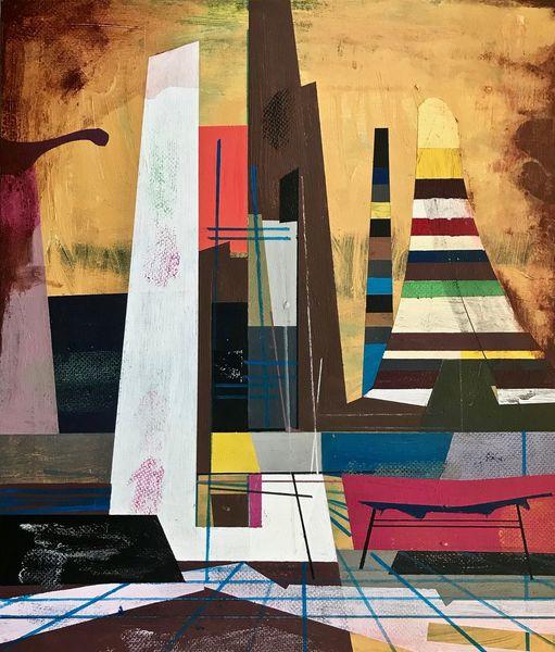 Architektur, Technologie, Acrylmalerei, Futurismus, Zeitgenössisch, Metaphysisch