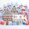 Landschaft, Illustration, Frohe weihnachten, Winter illustration