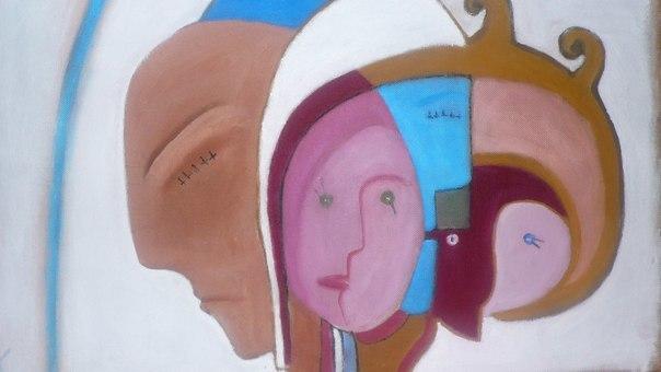 Blau, Ölmalerei, Malerei, Abstrakt, Surreal, Rot