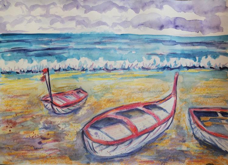 Strand, Meer, Boot, Mischtechnik