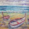 Boot, Strand, Meer, Mischtechnik