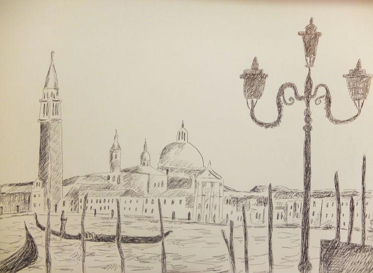 Venedig, Gondel, Laterne, Zeichnungen