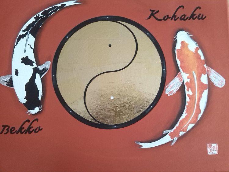 bild fische yin und yang schrift siegel von jose luis jimenez bernal bei kunstnet. Black Bedroom Furniture Sets. Home Design Ideas
