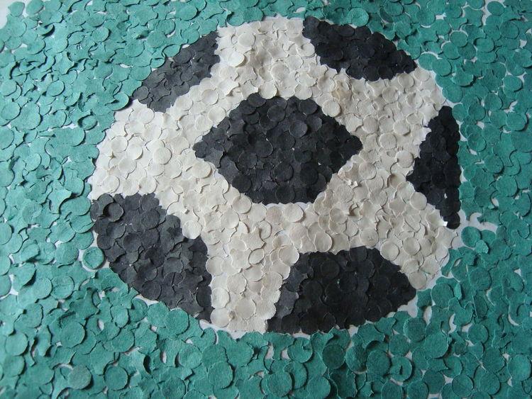 Fußball, Konfetti, Malerei