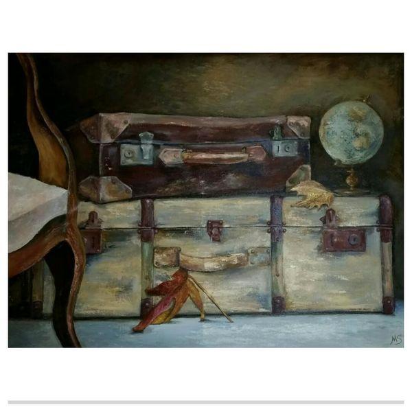 Reise, Koffer, Beige, Ölmalerei, Nostalgie, Landschaft