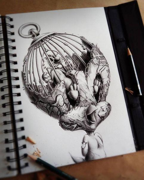 Bleistiftzeichnung, Zeichnungen, Kopf