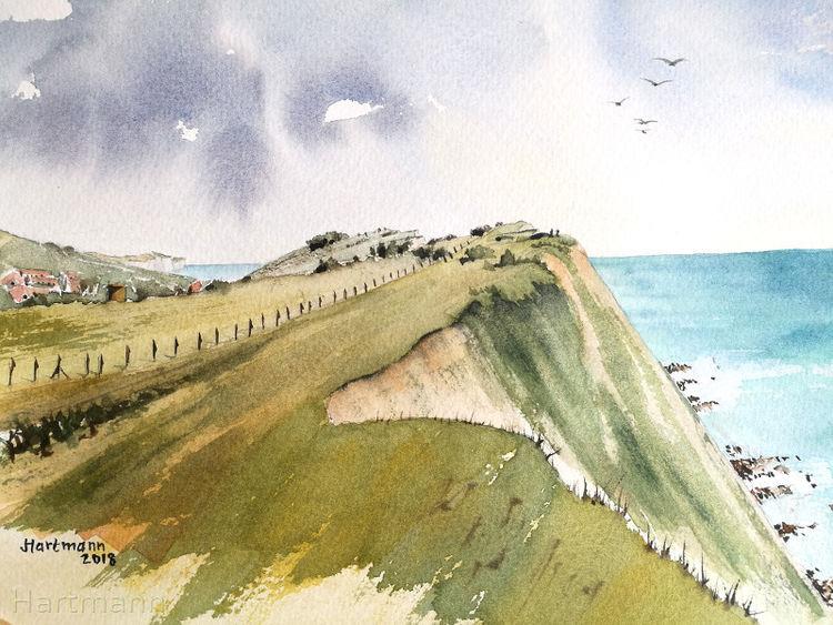 Steilküste, Kreidefelsen, Wasser, Aquarellmalerei, Aquarell, Küstenlandschaft