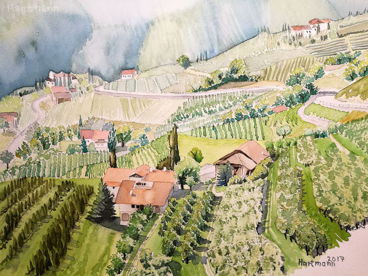 Südtirol, Aquarellmalerei, Meran, Aquarell, Landschaft