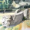 Hattingen, Skulptur, Stein, Aquarell