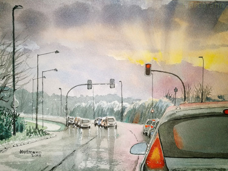 Auto, Stadtszene, Straße, Hattingen, Ruhrbrücke, Aquarell