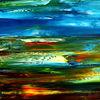 Rot, Abstrakte landschaft, Ölmalerei, Burg