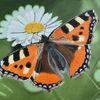 Fuchs, Fotorealistische malerei, Gänseblümchen, Schmetterling