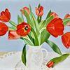 Strauß, Rot, Blüte, Fotorealistische malerei