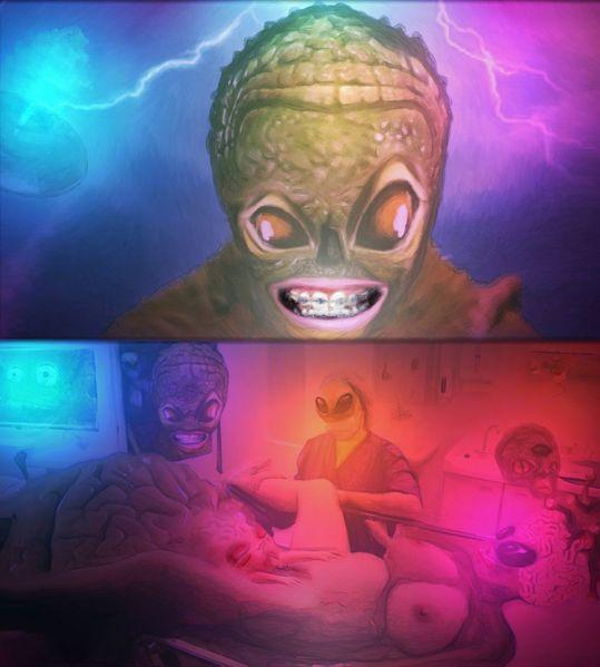 Schwangerschaft, Außerirdisch, Zahnspange, Mischtechnik, Planet, Lebenden