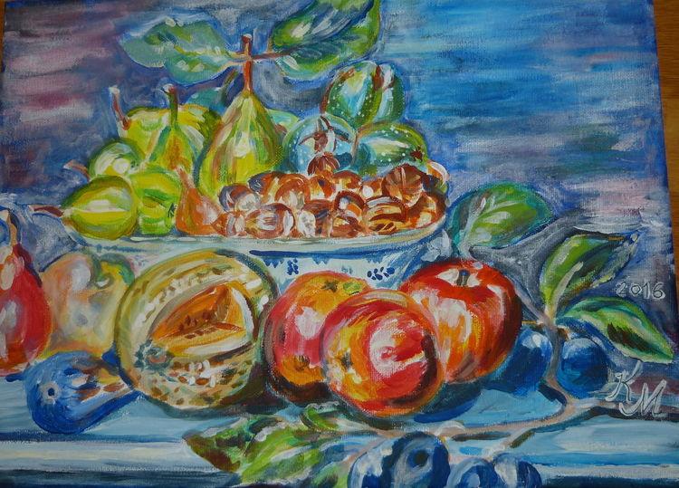 Melone, Pflaume, Feige, Apfel, Stillleben, Nüsse