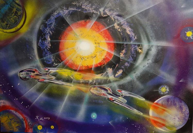 Gemälde, Raumschiff, Abstrakt, Sprühen, Farben, Malerei