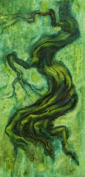 Malerei, Mystik, Surreal, Grün, Figural