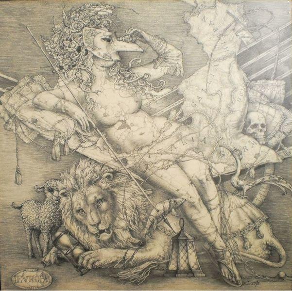 Allegorie, Frauenbild, Symbolisch, Löwe, Karte, Zeichnung