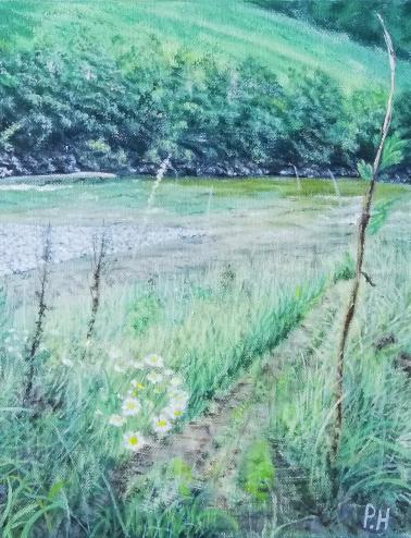 Wasser, Wiese, Farben, Malerei