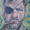 Augen, Typ, Zigarette, Malerei