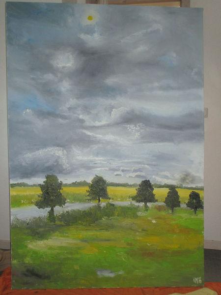 Allee, Wolken, Wiese, Malerei