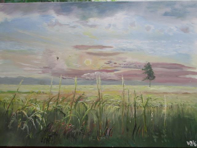 Abendhimmel, Wolken, Schwalbe, Kornfeld, Malerei