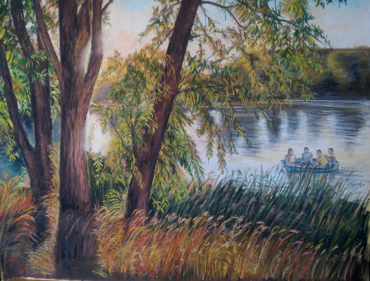 Abendrot, See, Baum, Boot, Zeichnungen